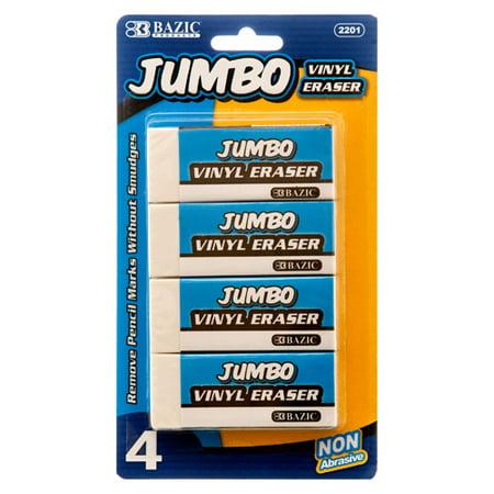 Jumbo Vinyl Eraser (4/Pack) (CASE of 72)](Bulk Erasers)