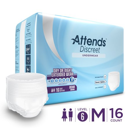 Attends Discreet Day/Night Protective Underwear for Adult Incontinence Care with DermaDry™ Technology, Unisex (Choose Your Size) - Teen Dipper