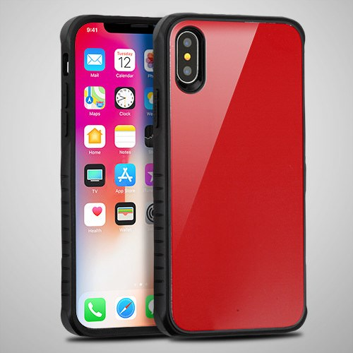 Red Tempered Glass Duo Phone Case For Apple iPhone X Phone