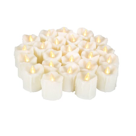 Candle Choice 24 Piece Realistic Flameless Candles, Indoor / Outdoor LED Votives, Tea Lights, Battery-operated Candles, Long Battery Life 120+ Hours, 1.5