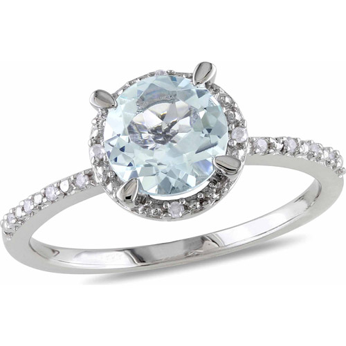 1-1/7 Carat T.G.W. Aquamarine and Diamond-Accent Sterling Silver Halo Ring