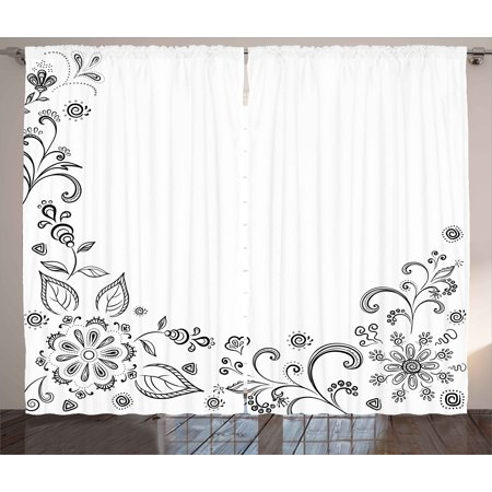 Black and White Curtains 2 Panels Set, Monochrome Floral Framework Herbs Swirled Leaves Botanical Sketchy Bouquet, Window Drapes for Living Room Bedroom, 108W X 90L Inches, Black White, by
