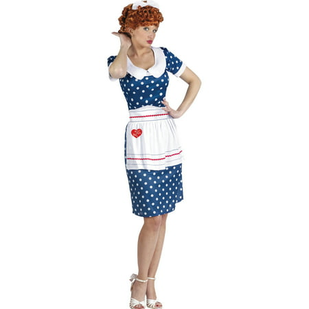 I Love Lucy Costume Blue Polka Dot Dress Apron and Wig Women Theatrical Costume