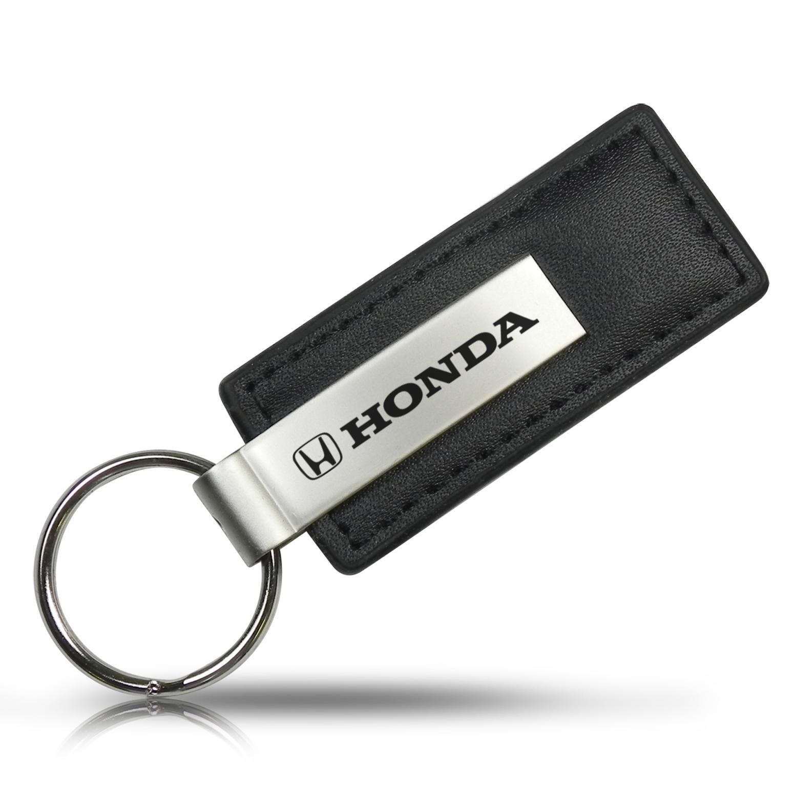 Honda Logo Black Leather Key Chain