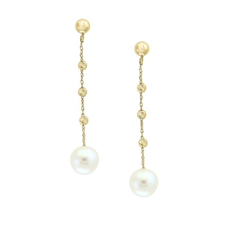 8mm White Pearl And 14k Yellow Gold Drop Earrings