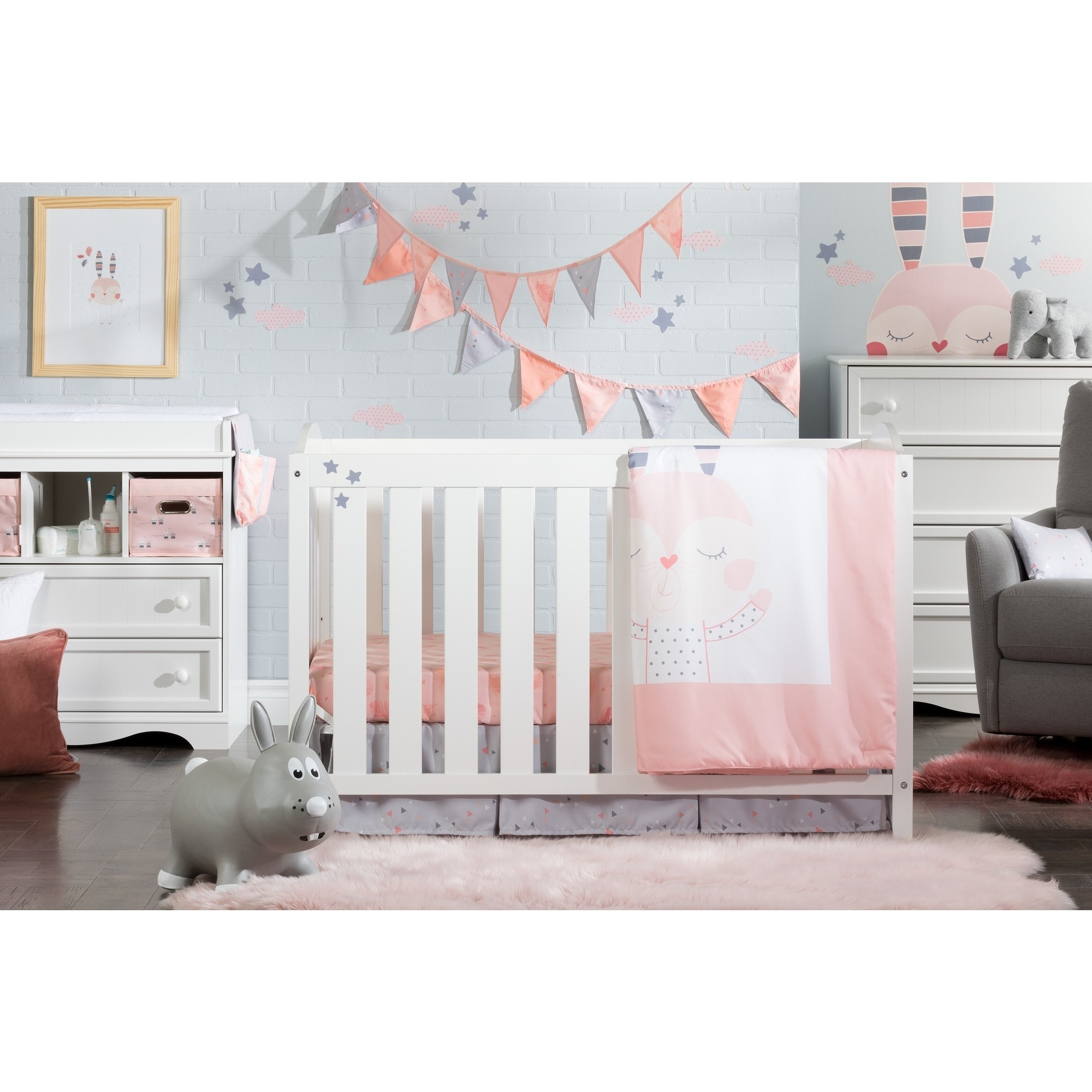 South Shore Furniture 100104 DreamIt Blue Little Whale 3-Piece Baby Crib Bed Set and Pillow