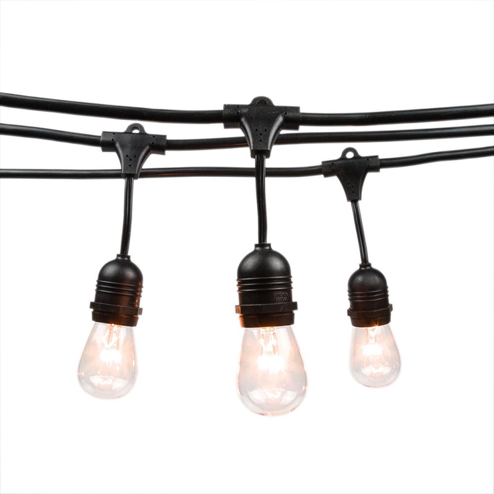 Fantado 15 suspended socket outdoor commercial weatherproof string light set sjtw 14awg s14 bulbs 48ft black cord w e26 by paperlanternstore walmart