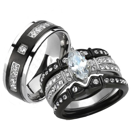 Her & His 4pc Black Stainless Steel & Titanium Wedding Engagement Ring Band Set Size Women's 10 Men's 12 (Titanium Engagement Ring For Her)