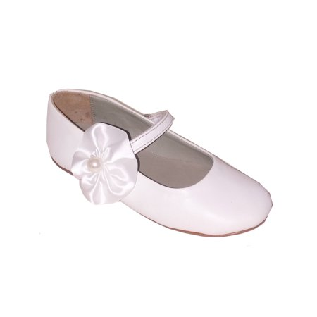 Pazitos Girls White Satin Pearl Flower Mary Jane Shoes