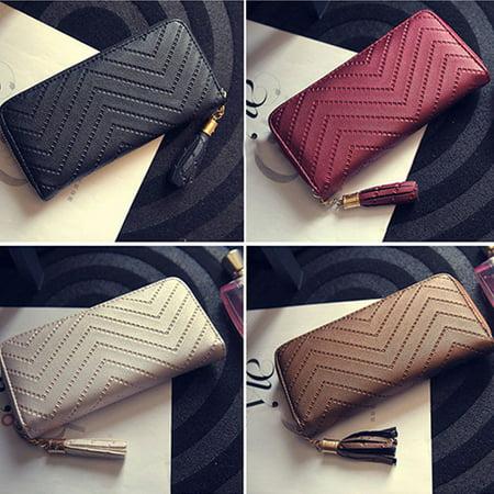 Purse Wallet (Newpee Women Faux Leather Card Holder Long Wallet Clutch Checkbook Tassel Handbag)