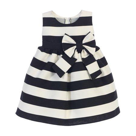 Sweet Kids Baby Girls Black White Stripe Ribbon Accent Occasion Dress 18M