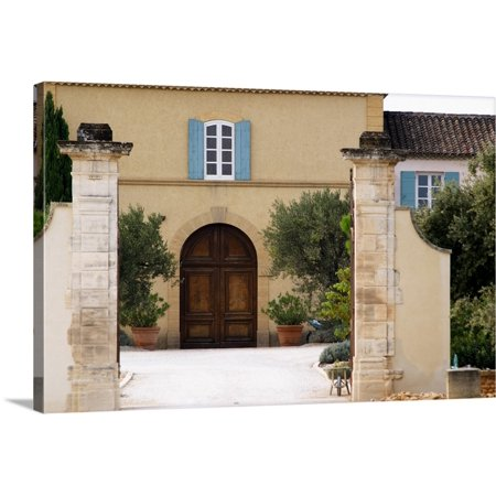 Main Stone - Great BIG Canvas | Per Karlsson Premium Thick-Wrap Canvas entitled The main entrance and building with stone portico, Chateau de