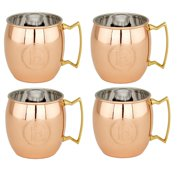 16 Oz. Solid Copper Moscow Mule Mugs, Monogram J, Set of 4