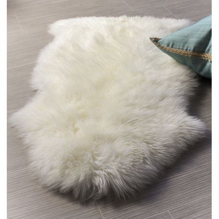 Super Area Rugs, Genuine Australian Sheepskin Ivory Fur Rug, Single Pelt, 2ft. X 3ft.