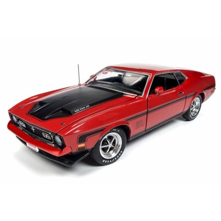 1971 Ford Mustang Mach 1 Hard Top, Bright Red - Auto World AMM1150 - 1/18 Scale Diecast Model Toy