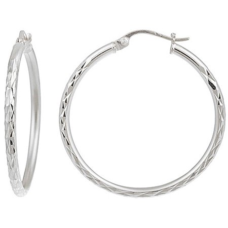 Signature Sterling 25mm Diamond Cut Hoop Earrings One Size Silver tone Signature Deco Diamond