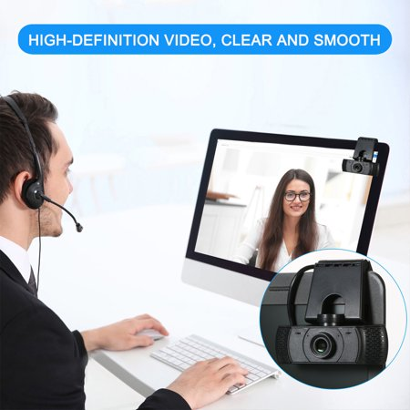 Full HD 1080P Webcam Video Conference Camera USB Webcam with Built-in Microphone Computer Camera for Laptop and Desktop, Support 360 Degrees Up and Down Rotation - image 2 de 7