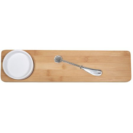 KitchenWorthy 3-piece Appetizer Set with Bamboo Platter/ Ceramic Bowl/ Metal Knife (Case of