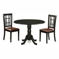 East West Furniture Dublin 3 Piece Drop Leaf Dining Table Set with Nicoli Faux Leather Seat Chairs