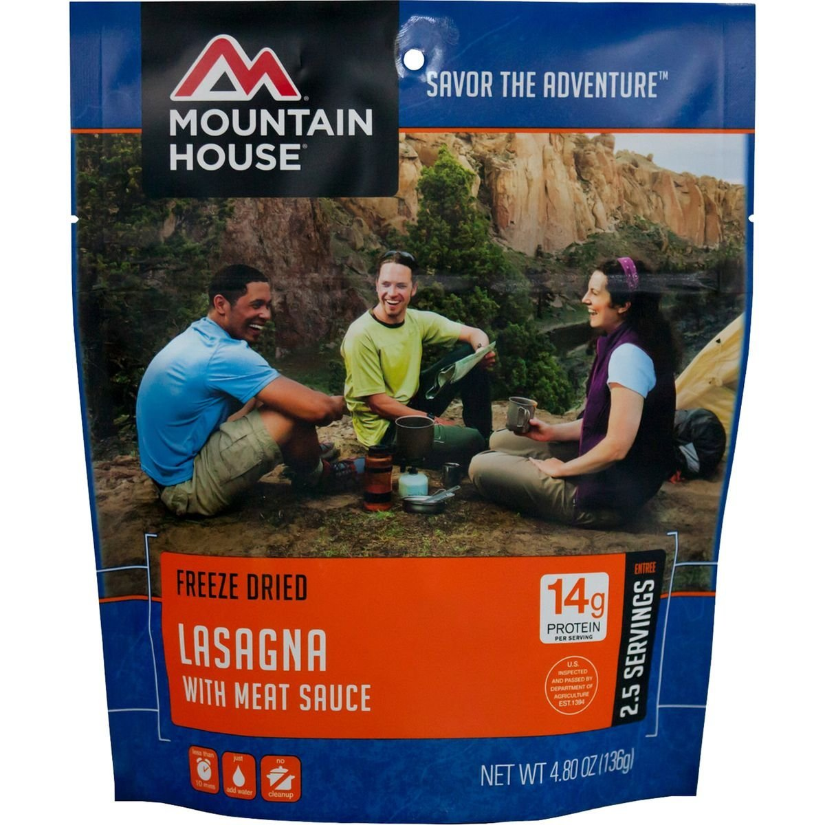 Lasagna with Meat Sauce 2.5 Serving Entree, Protein: 14g By Mountain House by