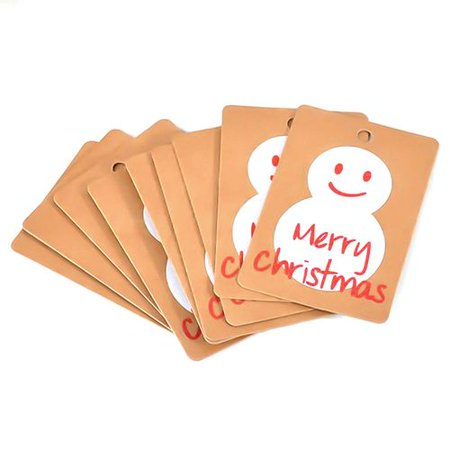 AkoaDa  50 PCS 2019 Fashion Christmas Kraft Paper Tag Christmas Hat Snowman Christmas Tree Snowflake Card Home Decoration ()