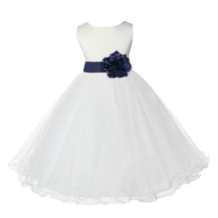 Ekidsbridal Satin Ivory Marine Blue Tulle Rattail Christmas Party Bridesmaid Recital Easter Holiday Wedding Pageant Communion Princess Birthday Clothing Baptism 829T size 6-9 month Flower Girl Dress
