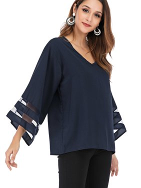 68e4bf865 Product Image Juniors' Plus Size Tops Blouses for Women Shirts Casual V  Neck 3/4 Bell