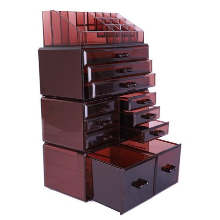 Ktaxon Large 4 Tier Makeup Cosmetic Lipstick Case Box Storage Organizer Display Brown - Tiger Makeup