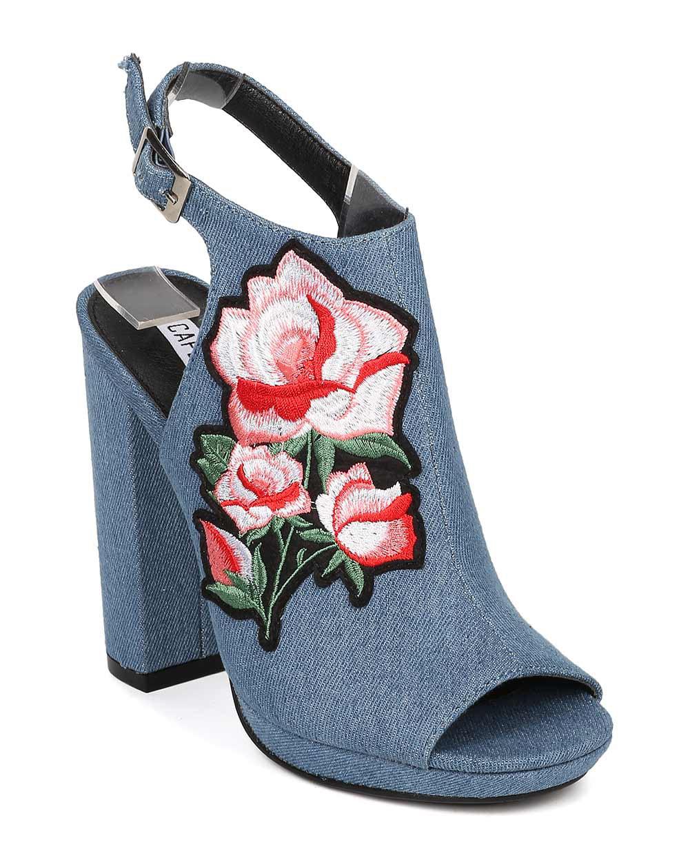 Women Embroidered Block Heel Mule - Floral Patch Chunky Heel - Peep Toe Platform Heel - HK85 By Cape Robbin