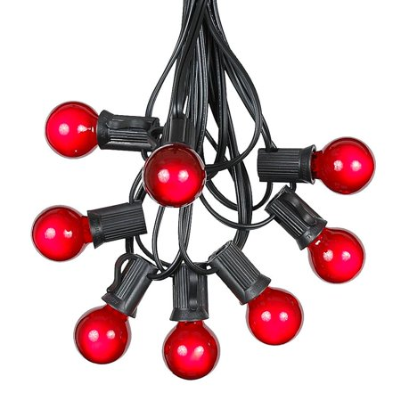 Outdoor Globe String Lights (G30 Patio String Lights with 125 Clear Globe Bulbs – Outdoor String Lights – Market Bistro Café Hanging String Lights – Patio Garden Umbrella Globe Lights - Black Wire -)
