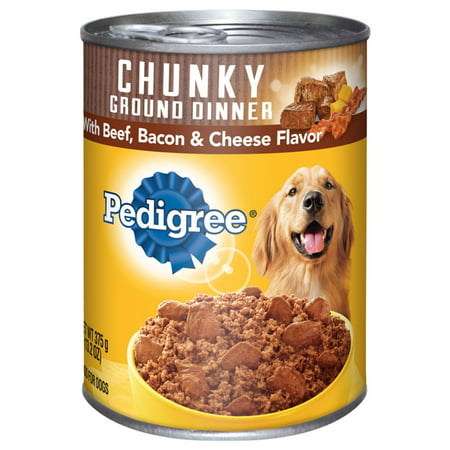 (12 Pack) PEDIGREE Chunky Ground Dinner With Beef, Bacon & Cheese Flavor Adult Canned Wet Dog Food, 13.2 oz. Can