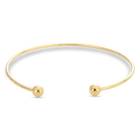 18K Gold Over Sterling Silver Ball Ends Cuff (Gold Diamond Cuff Bangle)