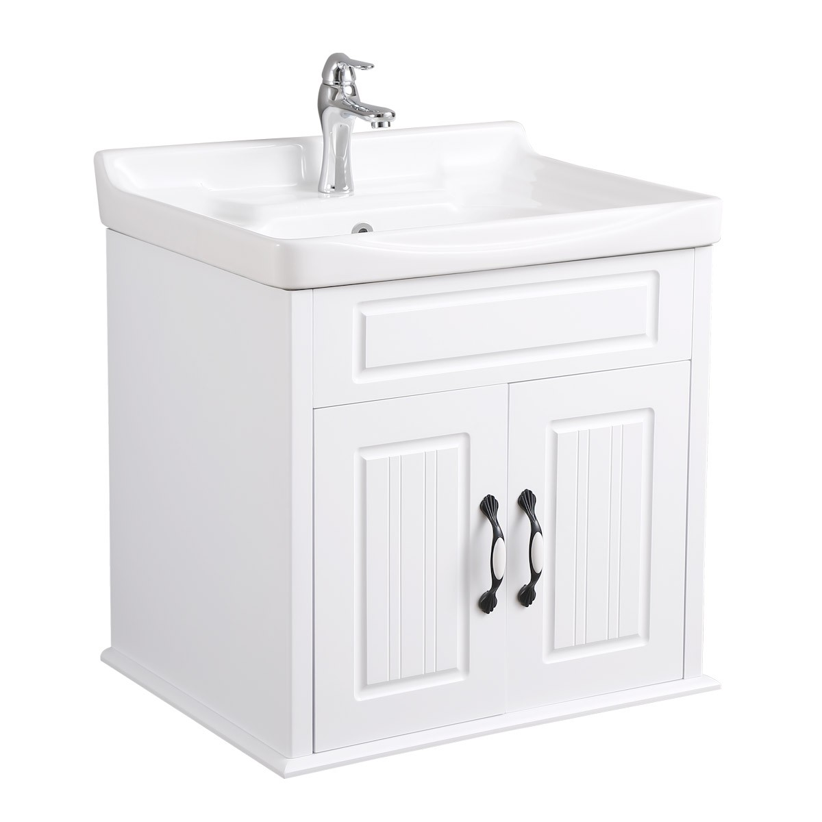Renovator S Supply White Bathroom Wall Mount Vanity Cabinet Sink With Faucet And Drain