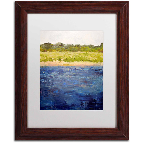 "Trademark Fine Art ""Coastal Dunes"" Canvas Art by Michelle Calkins, White Matte, Wood Frame"