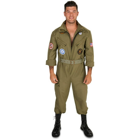 Fighter Pilot Jumpsuit Men's Adult Halloween Costume](Bomber Pilot Costume)