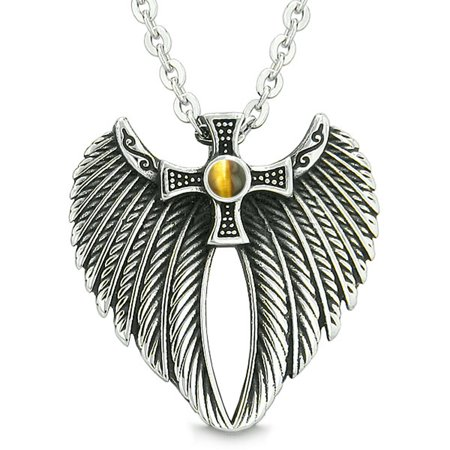Amulet Tiger Eye - Angel Wings Celtic Viking Cross Magic Powers Amulet Tiger Eye Pendant 22 inch Necklace