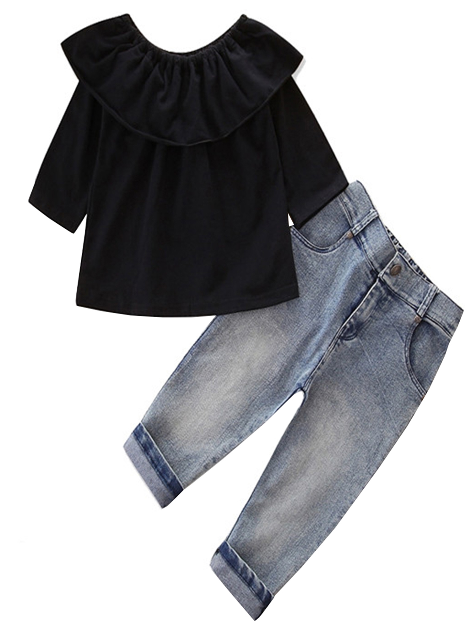 stylesilove Sweet Girl Solid Color Off-The-Shoulder Long Sleeves Blouse and Light Wash Jean 2 Pcs Outfit Set (3T, Black)