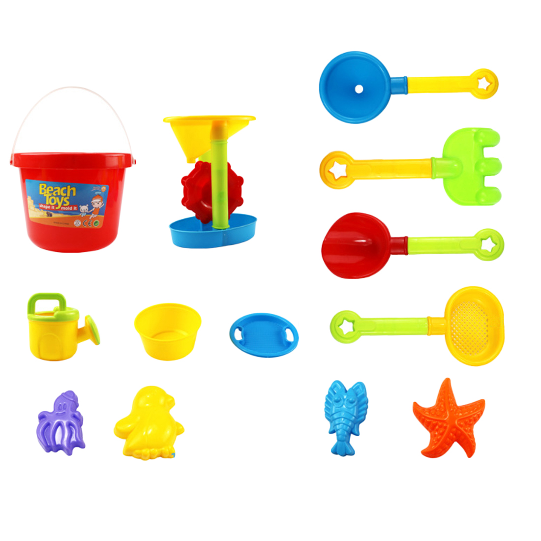 13 Pieces Beach Sand Toys Set with Mesh Bag for Kids Color Random by