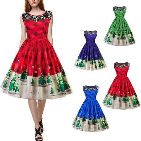 Women's Retro Vintage Spliced Lace Christmas Tree Print Dress for Xmas Party Snow Swing Autumn Winter Dresses Plus Size - Snow Coming Dresses