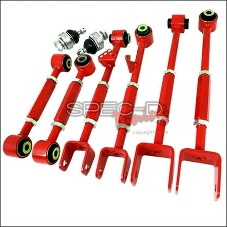 Spec-D Tuning CAM-2ACD08 8 Pieces Camber Kit Front & Rear for 42592 Honda Accord, Red - 2 x 14 x 18