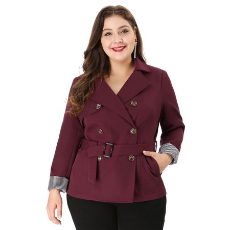 Women's Plus Size Double-Breasted Belted Trench Coat Red (Size