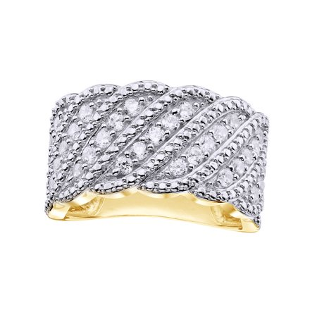 White Natural Diamond Scalloped Wave Ring In 10k Yellow Gold (0.75 Cttw) 10k Gold Weave Ring