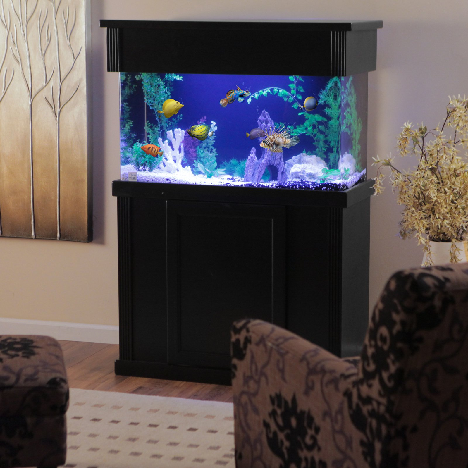 Laguna Series Rectangular Black Wood Aquarium Stand