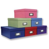 Pioneer Albums Bulk Buy Photo Storage Box 4.5 inch x 8 inch x 11.5 inch Assorted Solid Colors B1S (3-Pack)