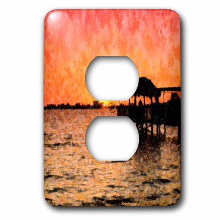 3dRose Image of Florida River Sunset With Tiki Hut Impression Style - 2 Plug Outlet Cover (lsp_237446_6)](Tiki Hut Supplies)