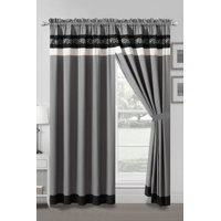 4-Pc Landry Floral Scroll Paisley Embroidery Stripe Curtain Set Black Gray Silver Sheer Liner Drape
