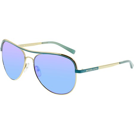 Michael Kors Women's Mirrored Vivianna MK1012-110625-58 Blue Aviator (Blue Mirrored Aviator Sunglasses)