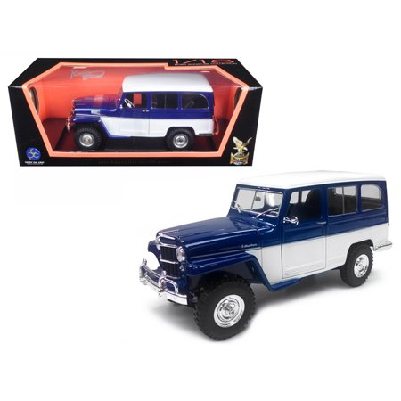 1955 Willys Jeep Station Wagon Blue 1/18 Diecast Model Car by Road