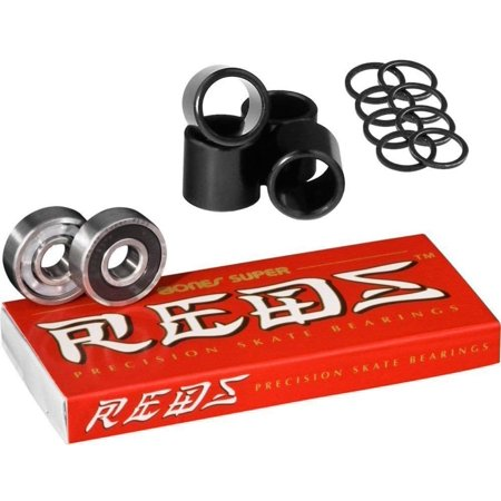 Super Reds Bearings, 8 Pack set With FREE Spacers & Speed Washers, Assemble your skateboard with durable Bones Wheels skateboard spacers & washers hardware,.., By Bones (Skateboard Hardware Red)