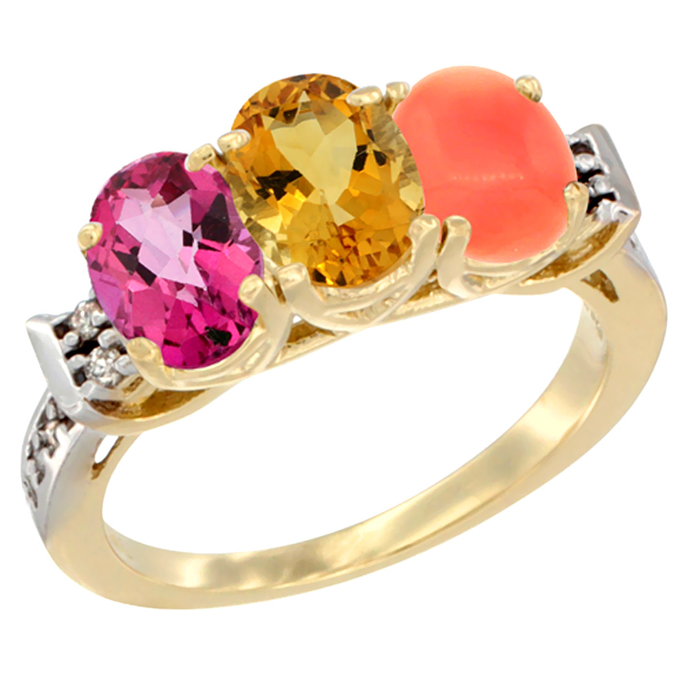 14K Yellow Gold Natural Pink Topaz, Citrine & Coral Ring 3-Stone 7x5 mm Oval Diamond Accent, sizes 5 10 by WorldJewels